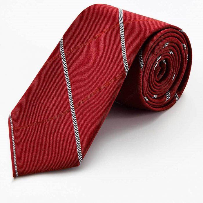 Red Stripe with Blue Herringbone